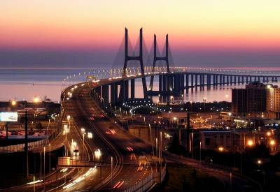 Vasco da Gama Bridge at night - Lisbon