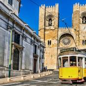 Lisbon Cathedral and tram - Alfama