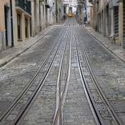 View up the Elevador da Bica - Lisbon