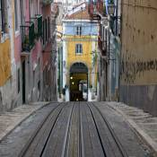 View Down the Elevador da Bica - Lisbon