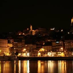 Panoramic View of Porto's Ribeira at Night