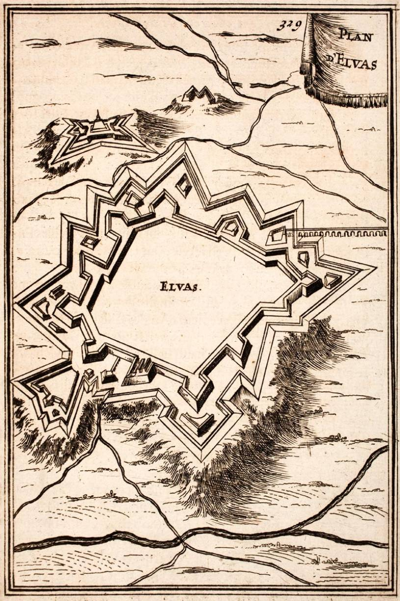 Elvas city wall fortifications plan