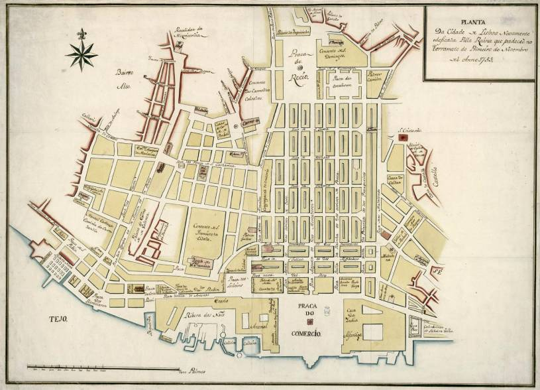 Lisbon Pombaline Downtown street plan