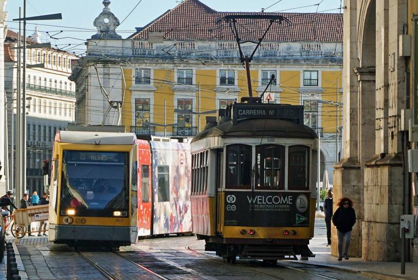 Lisbon trams - Old and new