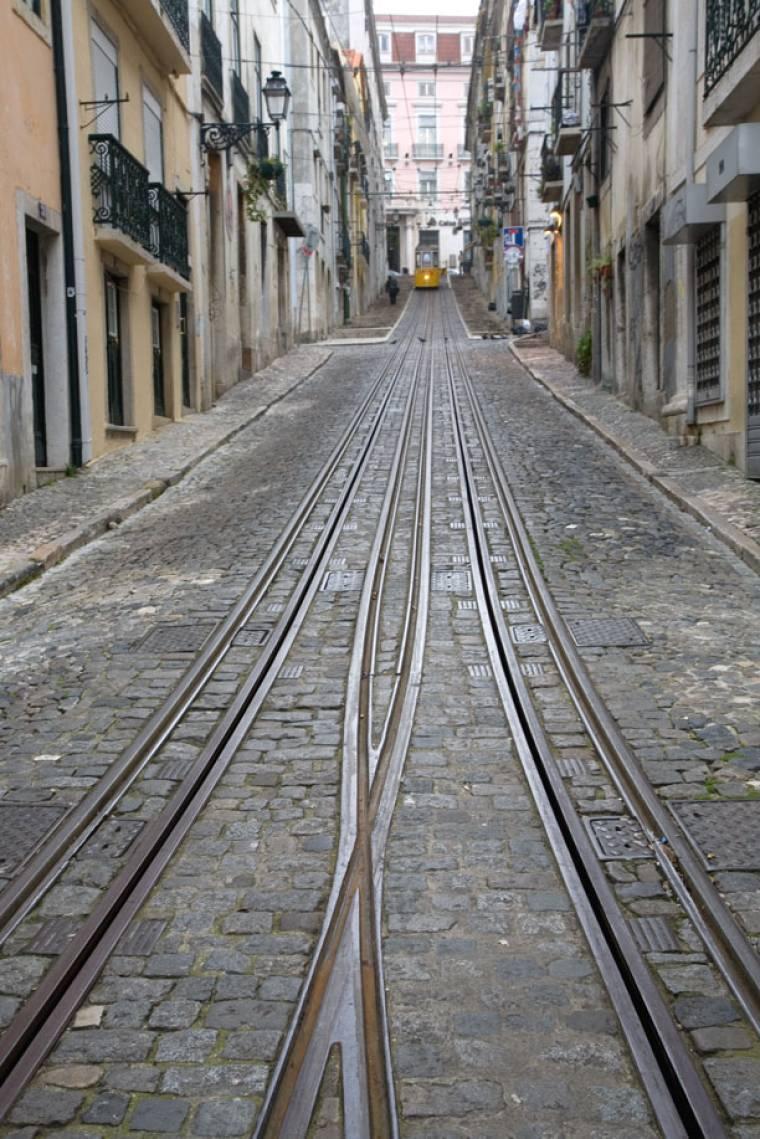 View up the Elevador da Bica - Lisbon