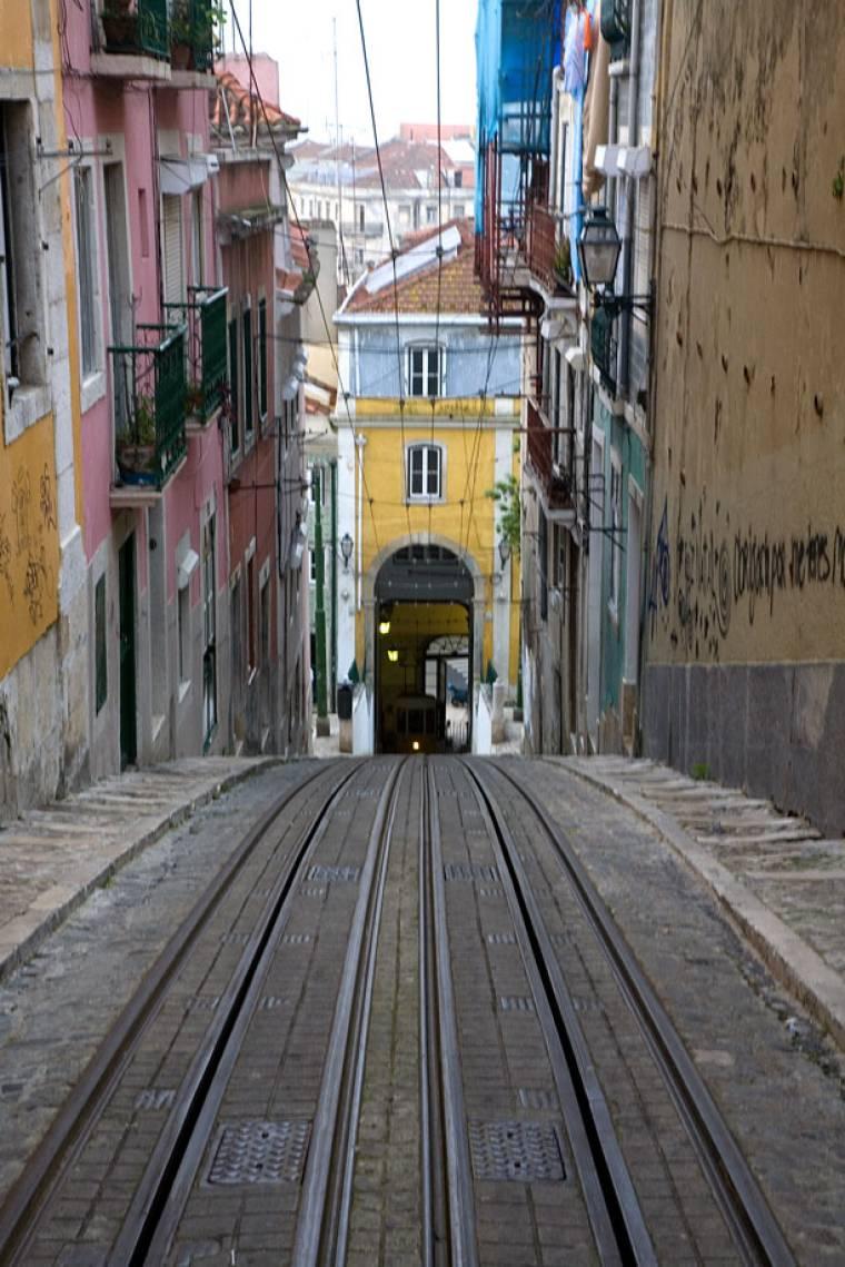View Down the Elevador da Bica - Lisbon