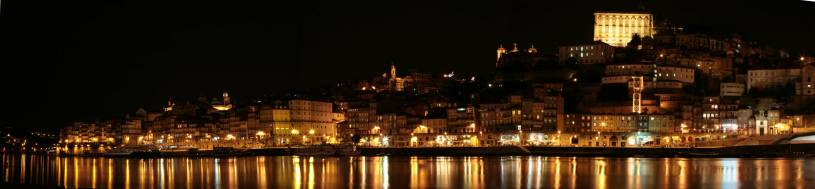 Panoramic View of Porto's Ribeira at Night