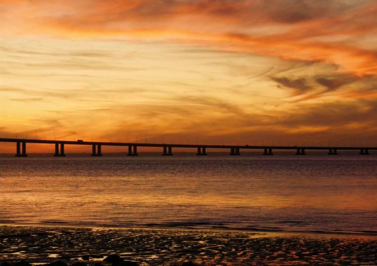 Sunset over the Vasco da Gama bridge, Lisbon