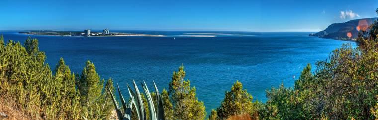 View across Sado Estuary from Setubal to Troia Peninsula